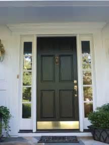 american front doors 6 panel wood door with bronze kick plate black
