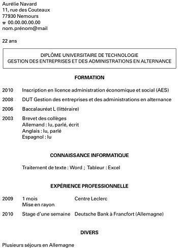 Exemple Cv Emploi by Modele De Cv Etudiant Premier Emploi