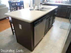 kitchen island with dishwasher electrical outlet next to dishwasher countertop