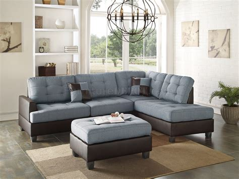Grey Sectional Sofa by F6858 Sectional Sofa 3pc In Grey Fabric By