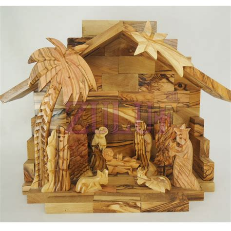 Handcrafted Nativity Set - carved nativity set handmade of olive wood from