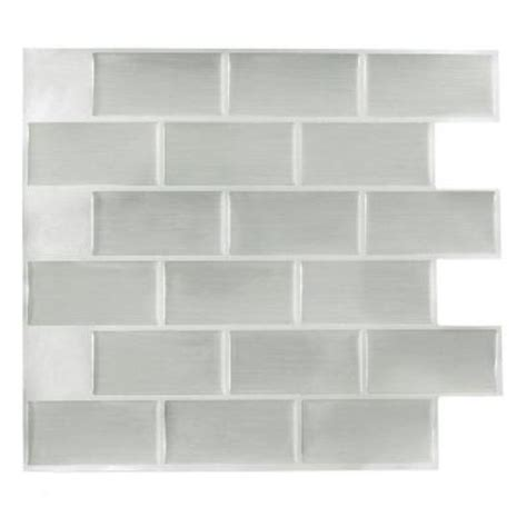 stick it tiles 11 25 in x 10 in steel subway adhesive