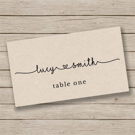 Rustic Place Cards Template by Printable Card Template Place Card Template