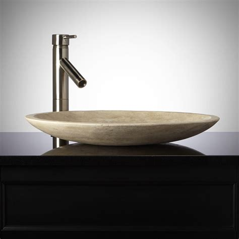 shallow polished beige travertine vessel sink