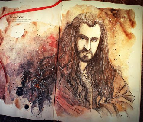 kinkos tattoo paper thorin from hobbit watercolor painting by kinko white no