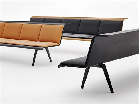 waiting bench modular multi layer wood bench zinta waiting by arper