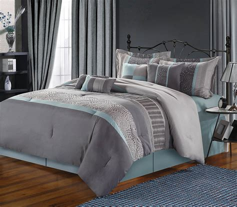 blue bed blue and grey bedding and bedroom decor
