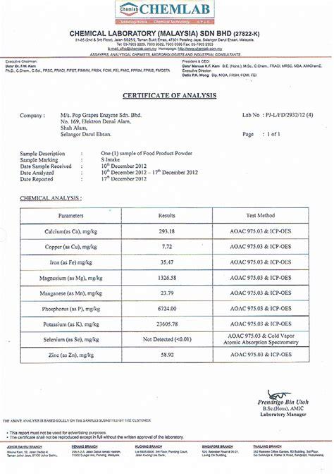 certificate of analysis exle food food ideas