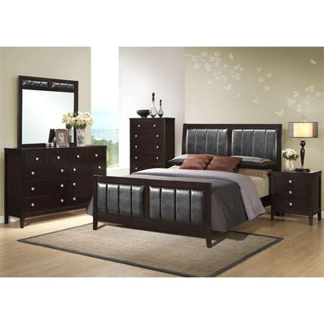 5pc bedroom set manhattan black mdf wood 5pc bedroom set w king bed global