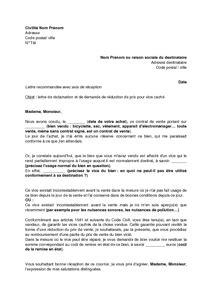 Demande De Prix Lettre exemple gratuit de lettre r 233 clamation et demande r 233 duction prix vente vice cach 233