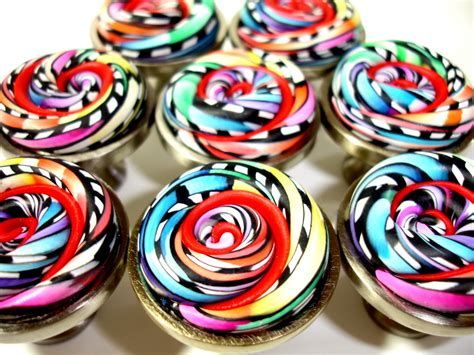 Whimsical Door Knobs by Set Of 8 Bright Whimsical Cabinet Knobs By Outrageous Knobs