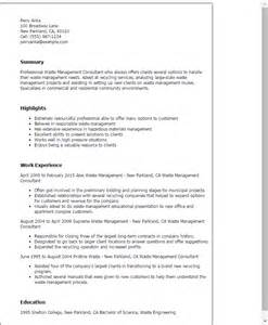 Waste Manager Sle Resume professional waste management consultant templates to showcase your talent myperfectresume