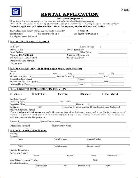printable free rental application forms 8 printable rental application printable receipt