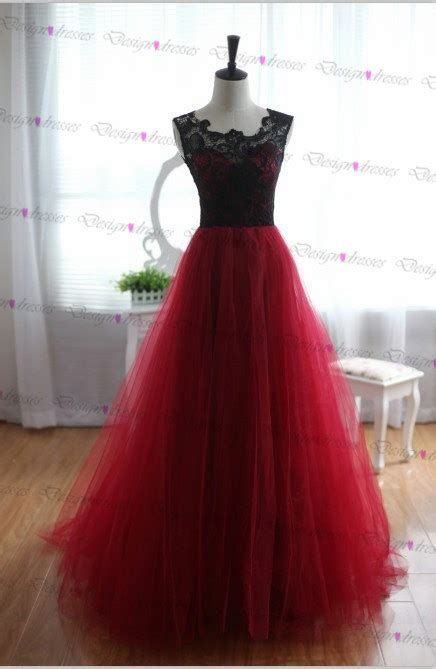 Handmade Evening Dresses - pretty handmade tulle and lace burgundy prom dresses 2016