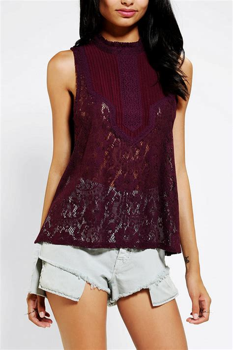 Jumpsuit Leo Kombi Maroon outfitters kimchi blue lace tank top in purple lyst