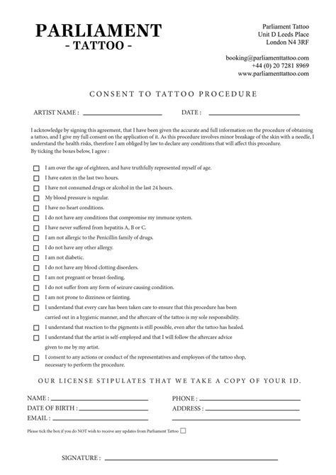 tattoo consent form consent form parliament