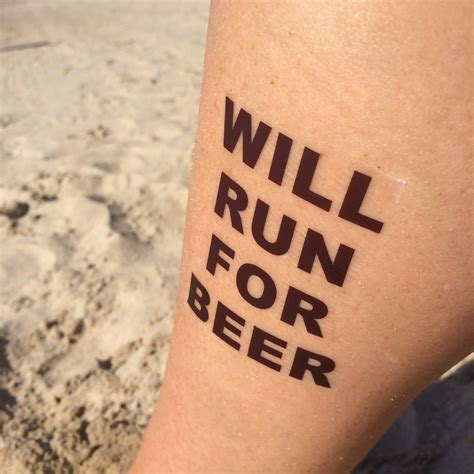 new tattoo jogging will run for beer running tattoo beer tattoo temp tattoo