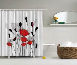 Red And Gray Shower Curtain Red Gray Black Flowers Floral Fabric Shower Curtain