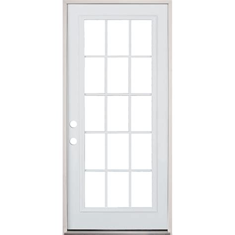 36 Quot 15 Lite Prehung Exterior Steel Door Unit Right Hand 15 Lite Exterior Door