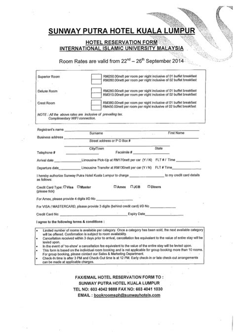 Credit Card Booking Form Template Reservation Form Hotel Reservation Form Smart 2013