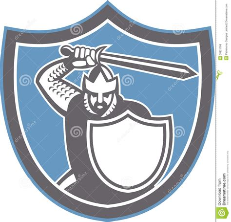 inside the sword by darkstorms12 crusader brandish sword shield retro stock vector