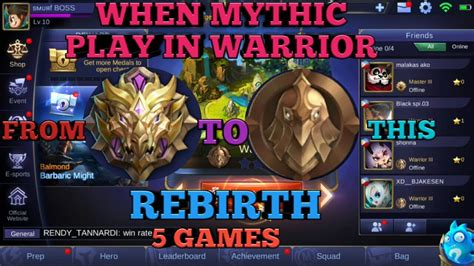 mythic mobile legend when mythic play in warrior rank mobile legends warrior