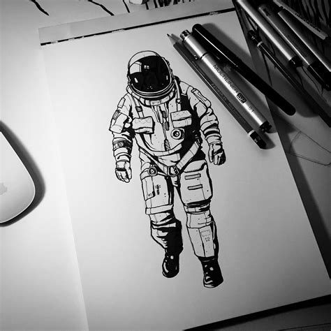 Mug Astronot the astronaut brush pen and multiliner drawing drawing