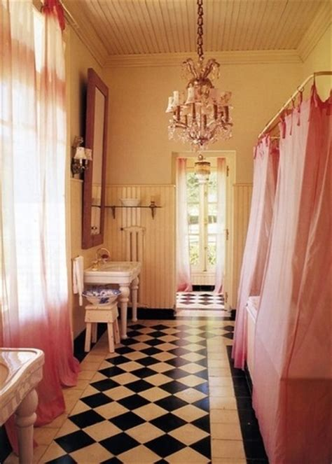 black white pink bathroom dreamy little bathrooms part 2 chandeliers sconces and pendants oh my 171 covet