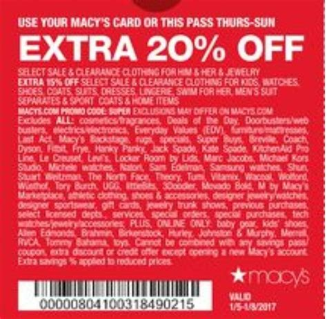 macy s coupon 20 weekend sale in store