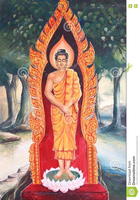 biography of buddha mural of buddha biography royalty free stock images