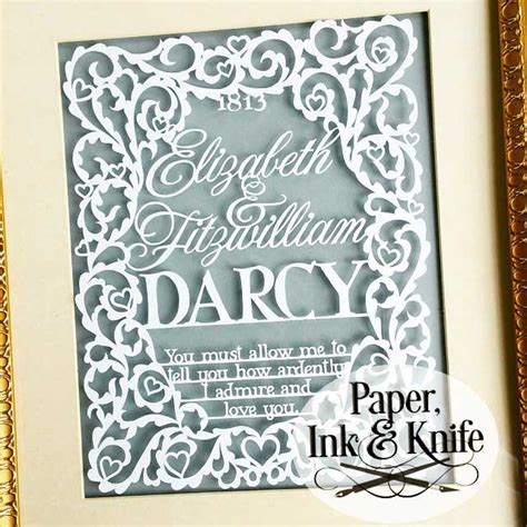 wedding papercut template pride and prejudice wedding sler papercut template