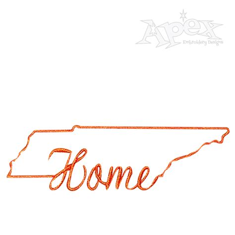 tennessee home state embroidery design