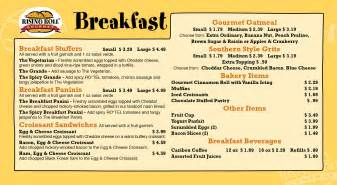 Simple design of the breakfast menu page design with soft yellow olor