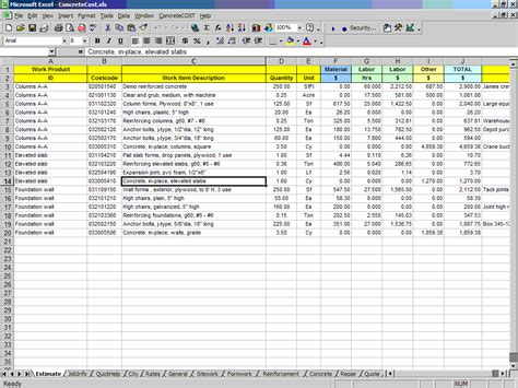 cpr concrete construction cost estimating software for excel