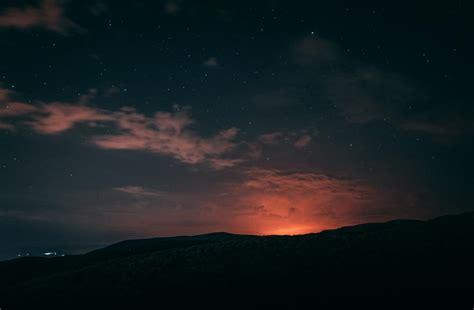 wallpaper night starry sky horizon hd widescreen