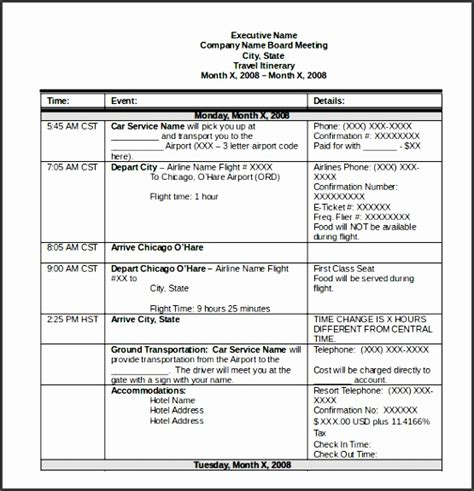 trip itinerary template 6 itinerary templates sletemplatess sletemplatess