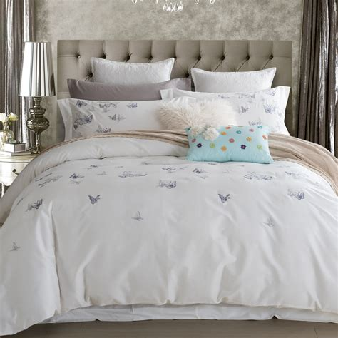king size butterfly comforter set 100 cotton butterfly bedding set white embroidered