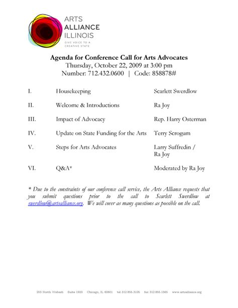 conference call meeting agenda template agenda for conference call for arts advocates
