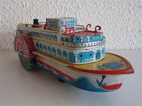 tin toy mississippi river steam boat made in japan battery - Steam Boat Japanese