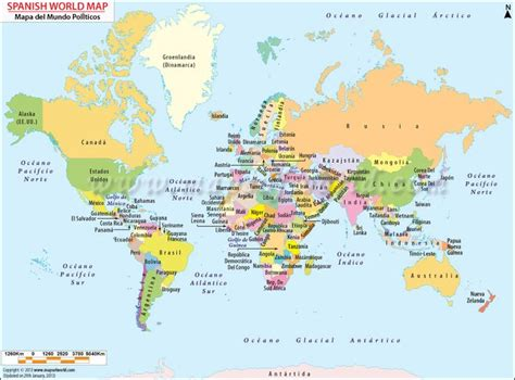 Printable World Map In Spanish | world map in spanish paises countries pinterest