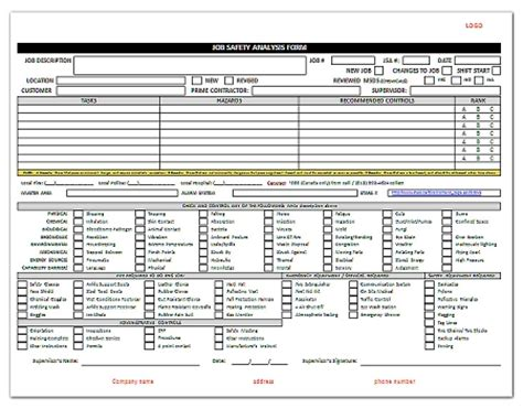 safety analysis template jsa safety analysis