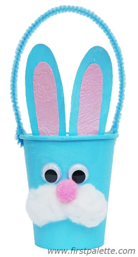 Paper Cup Craft - paper cup bunny basket craft crafts firstpalette