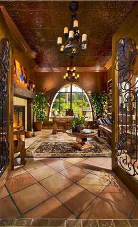 home interior mexico rancho santa fe home terracotta tile arched windows and
