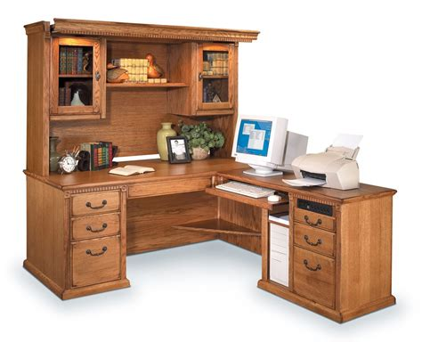 Solid Wood Computer Desk With Hutch Sauder Harvest Mill L Desks With Hutch