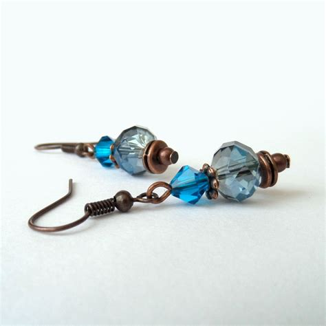 Unique Handmade Earrings - unique handmade earrings with copper blue crystals unique