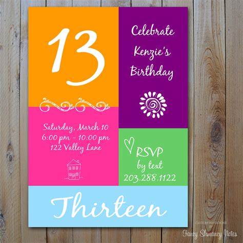 13th birthday party invitation ideas bagvania free