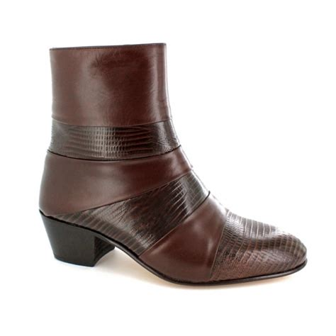 mens leather cuban heel boots mens cuban heel leather boots brown made by