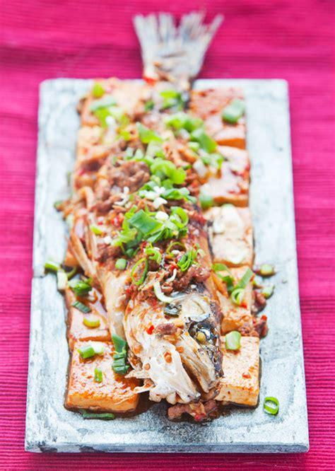 new year tofu dish chili bean paste fish and tofu new year dish egg