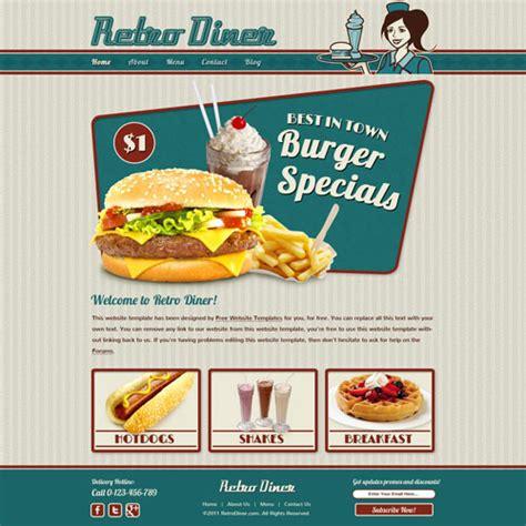 Retro Diner Website Template Free Website Templates Fast Food Website Template Free
