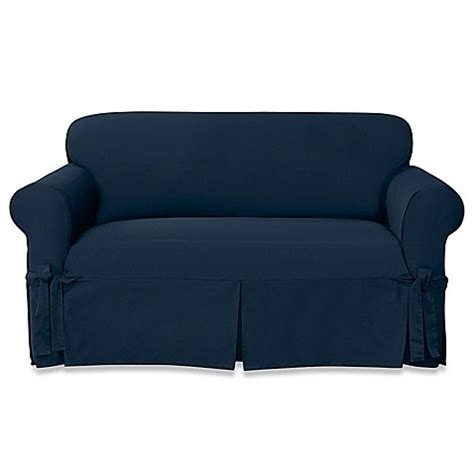 sure fit twill slipcover buy sure fit 174 designer twill loveseat slipcover in blue